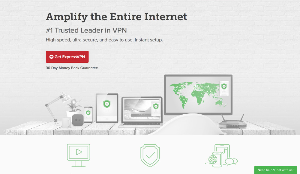 Screenshot of ExpressVPN's website