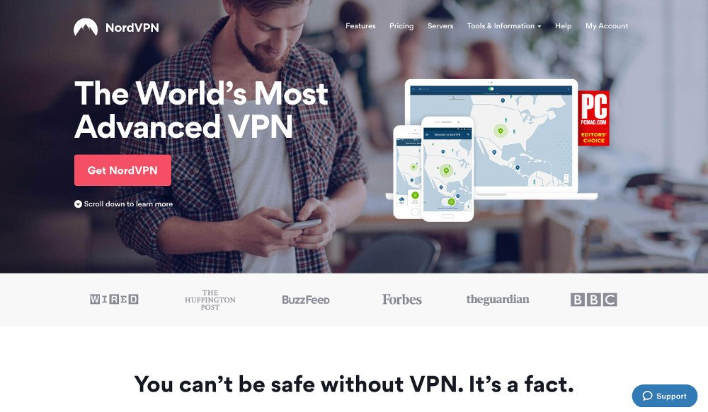 Screenshot of NordVPN's website