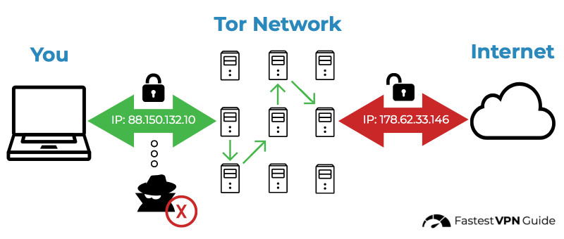 Diagram of how the Tor network hides my IP address