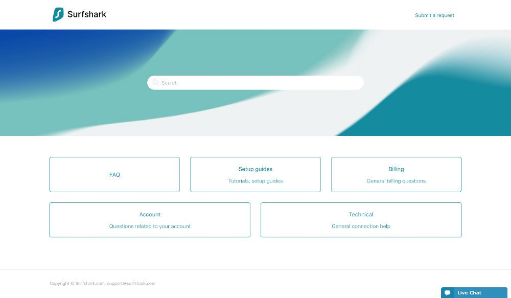 Screen capture of Surfshark's client support portal