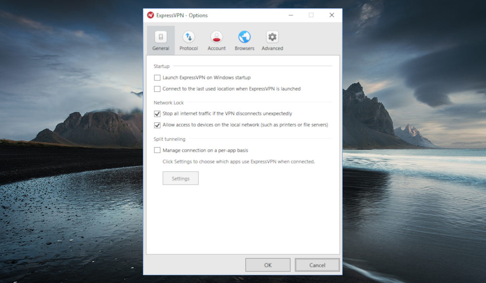 The ExpressVPN app's general options window has kill switch toggle