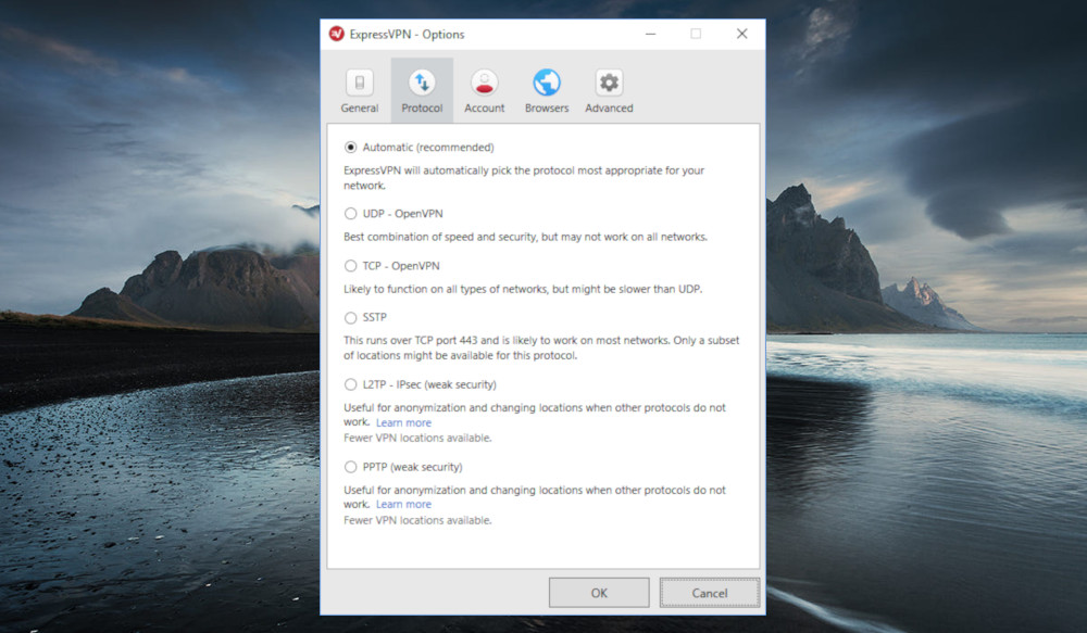 Review of ExpressVPN's connection protocol options