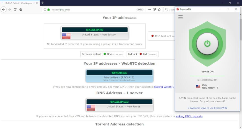 Screenshot of ExpressVPN's leak test results