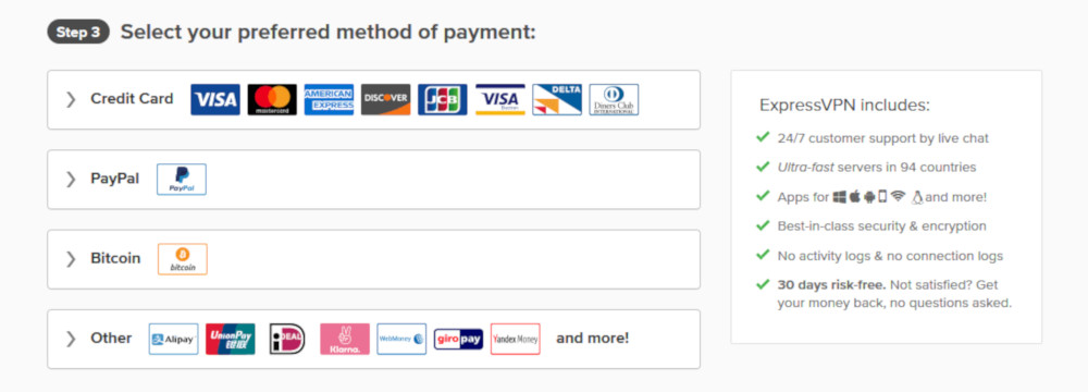List of the available ExpressVPN payment methods