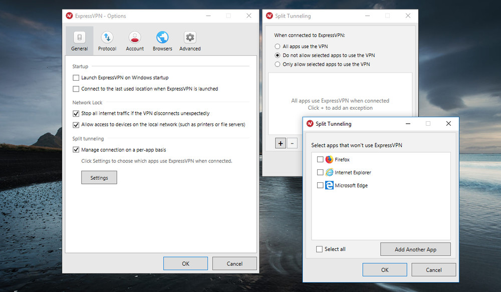 Configuration options for ExpressVPN's split tunneling feature