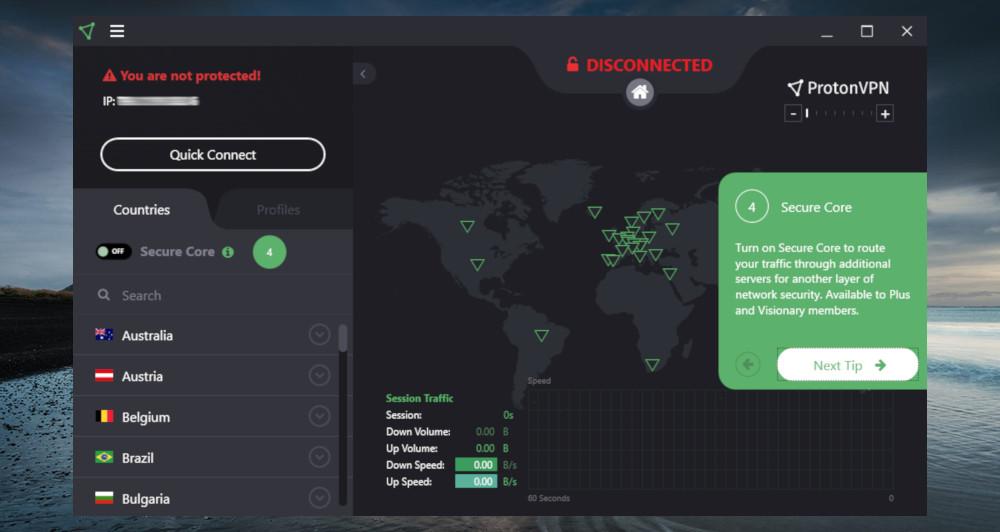 ProtonVPN app help tutorial running