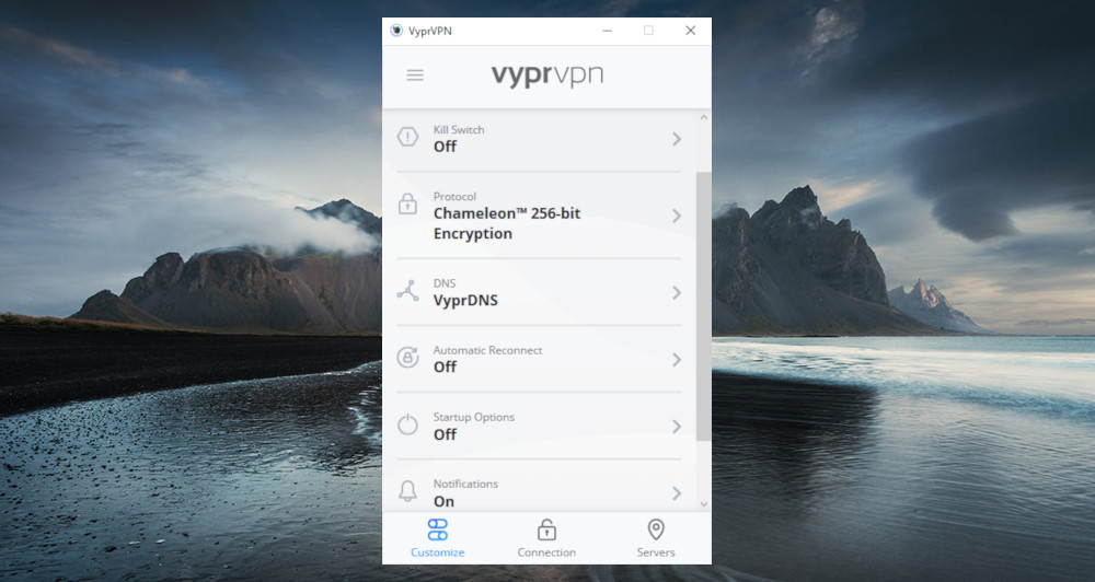 A review of VyprVPN client's customization menu