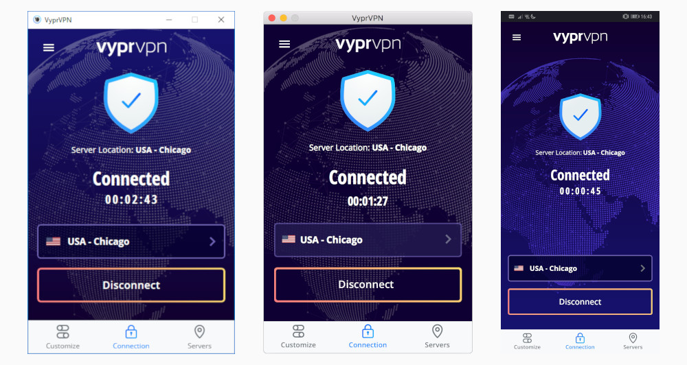 A comparison of VyprVPN's Windows, macOS, and Android clients