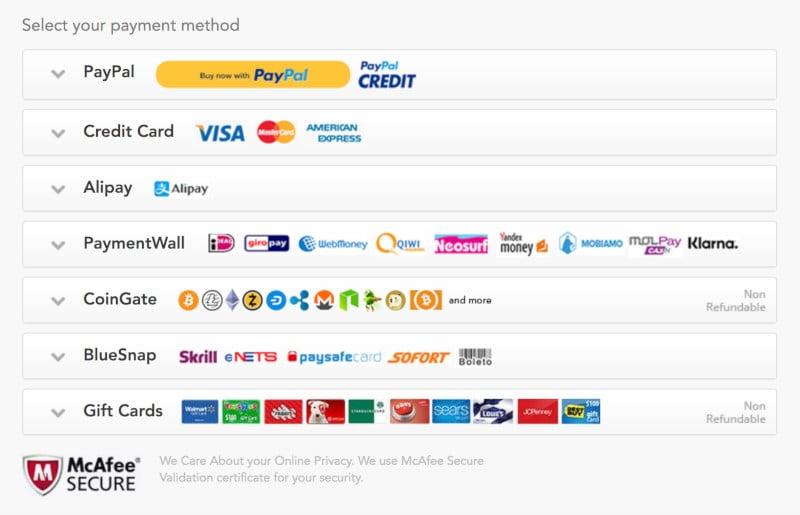 Payment methods for latest PureVPN deals