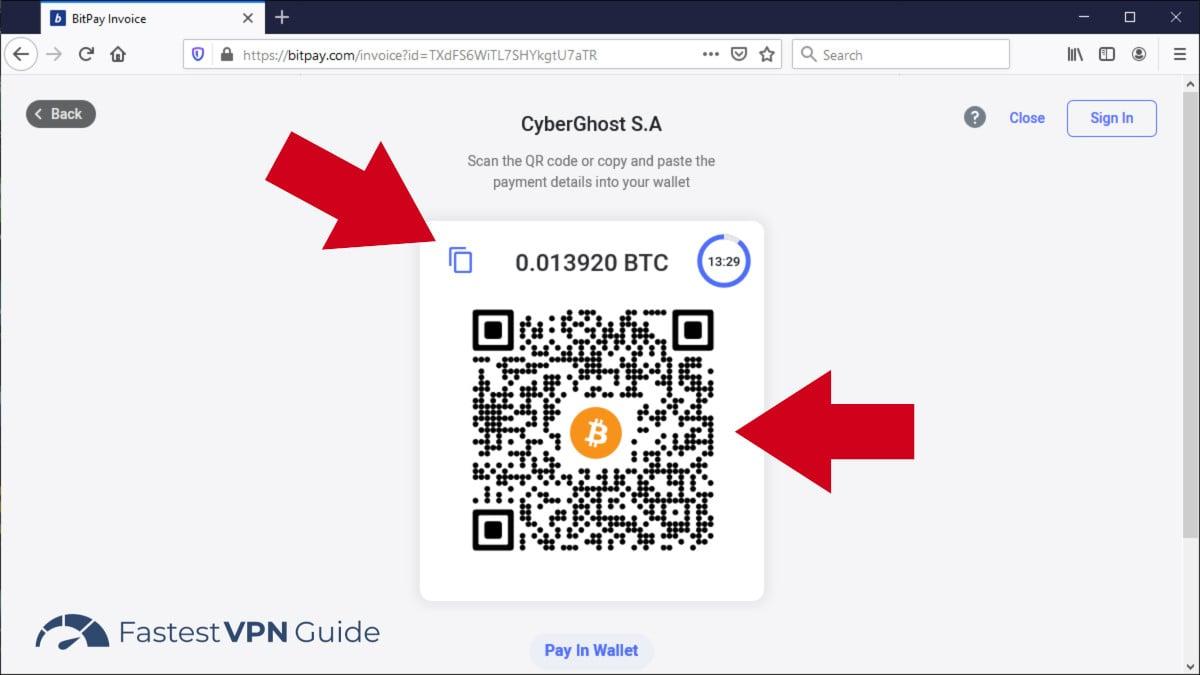 Transaction VPN Bitcoin terminée