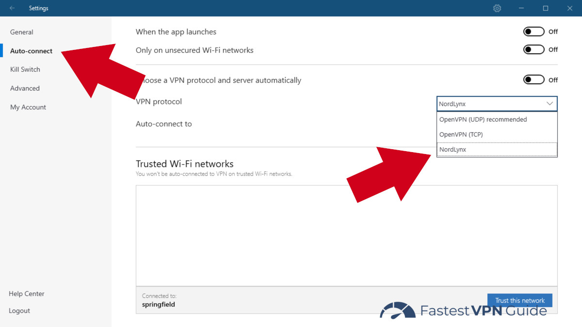 Selecting NordLynx in the NordVPN settings menu