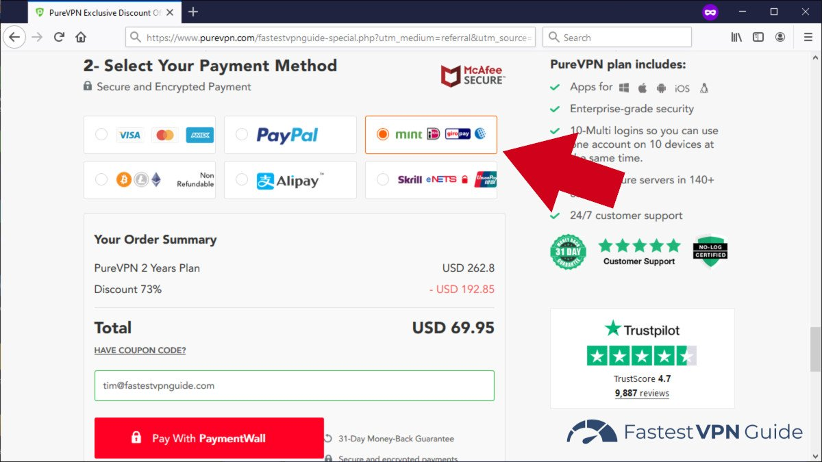Paying for PureVPN with a gift card