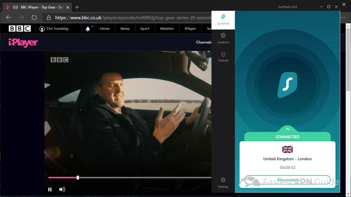 BBC iPlayer working from Australia with Surfshark