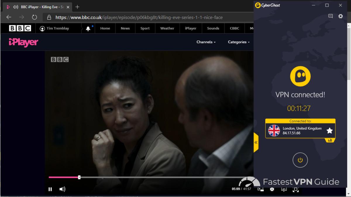 Watching iPlayer in Australia using CyberGhost