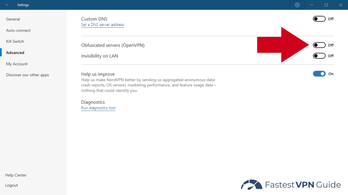 Settings option to turn on NordVPN server obfuscation