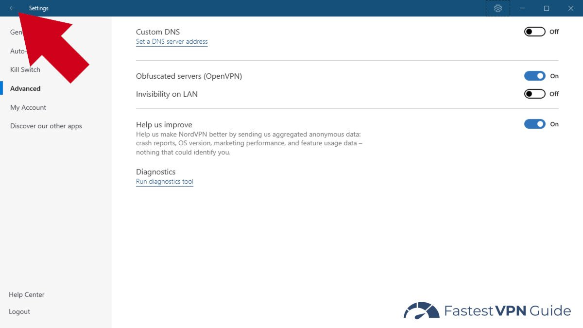 NordVPN server obfuscation enabled in settings