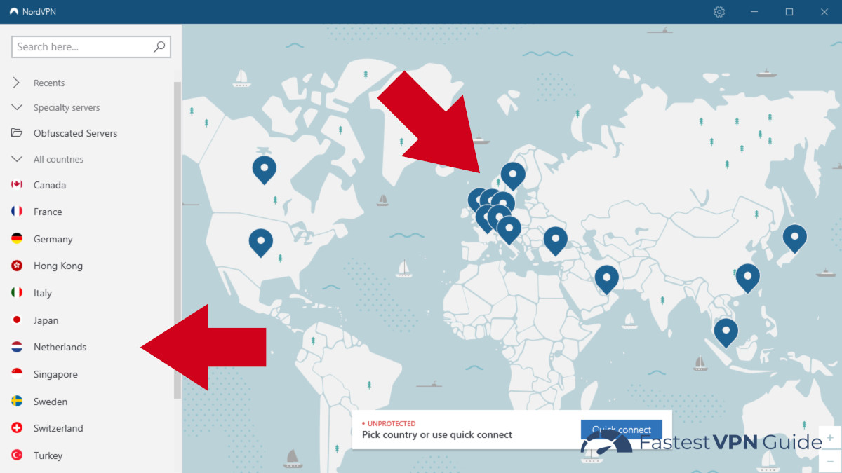 NordVPN client showing China friendly obfuscated servers