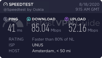 VyprVPN Netherlands VPN server speed test results