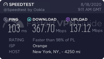 VyprVPN Unites States baseline speed test results