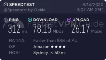 ibVPN Australia VPN server speed test results