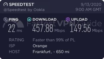 ibVPN Germany baseline speed test results