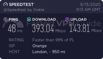 ibVPN United Kingdom baseline speed test results