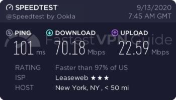 ibVPN Unites States VPN server speed test results