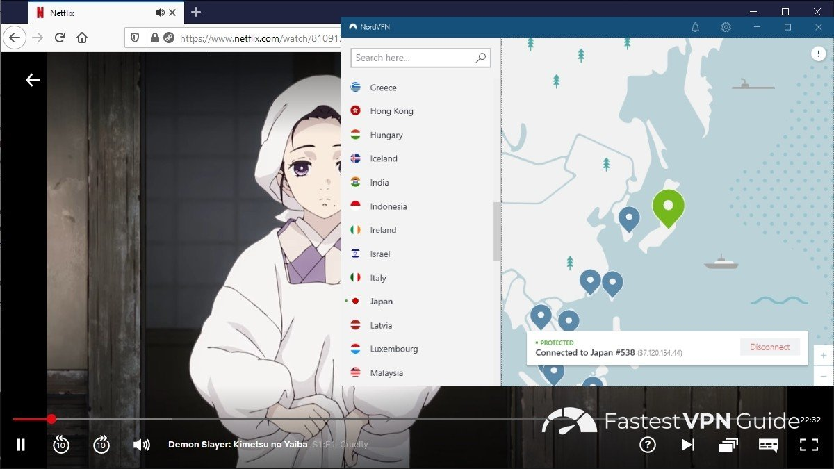 Watching Netflix Japan from America with NordVPN