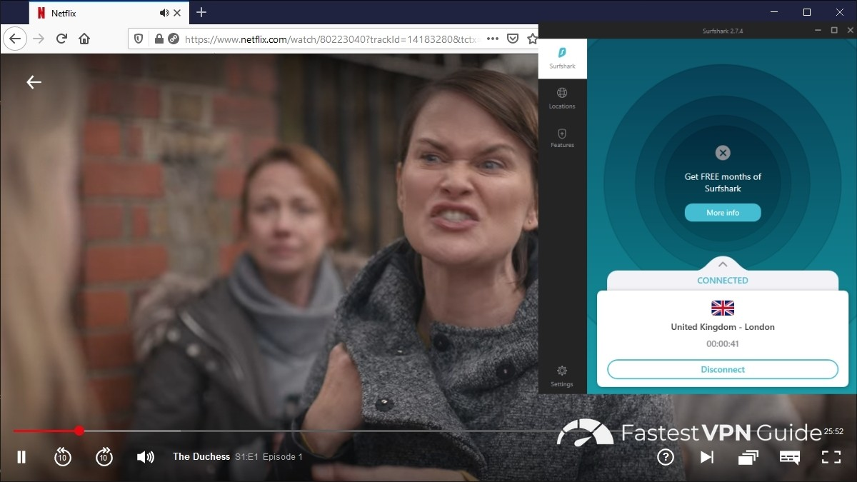 Streaming British Netflix in the US with Surfshark