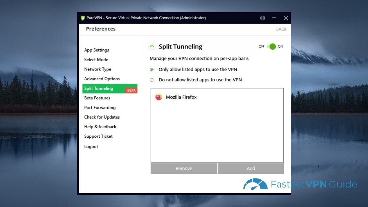 Enabling split tunnel in PureVPN client