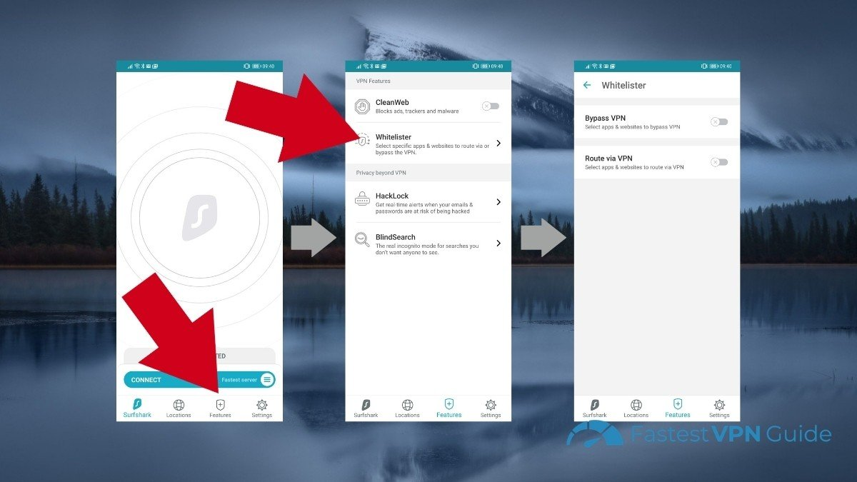 How to enable Whitelister on Surfshark's Android client