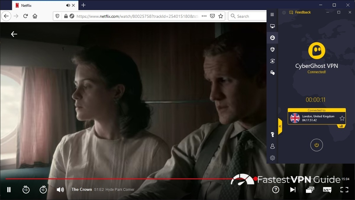 Streaming UK Netflix in the United States using CyberGhost