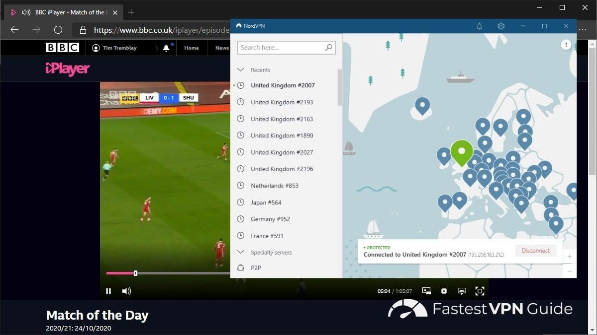 Watching iPlayer with NordVPN
