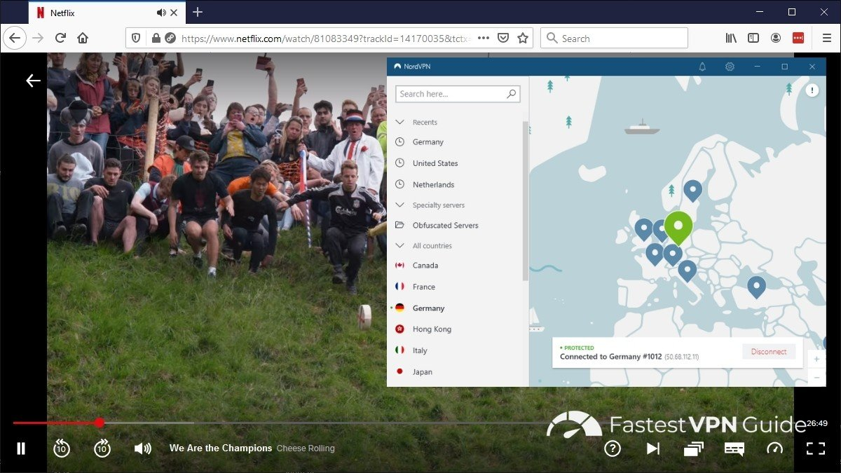 Watching Netflix Germany from the US with NordVPN