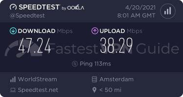 ProtonVPN Secure Core VPN server speed test results