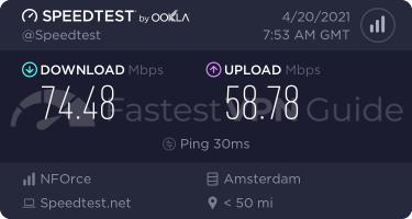 ProtonVPN regular VPN server speed test results
