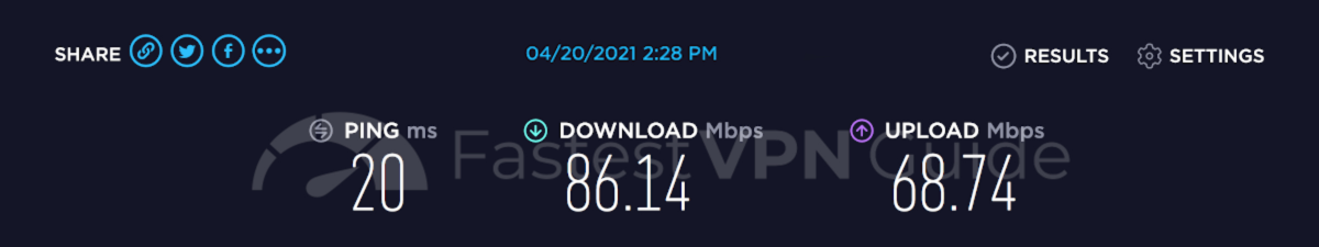 Speed test results for ProtonVPN's fastest server