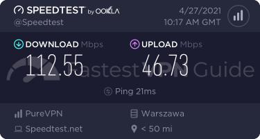 PureVPN best VPN server speed test results