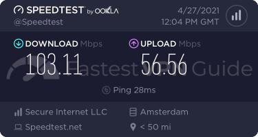 PureVPN Netherlands VPN server speed test results