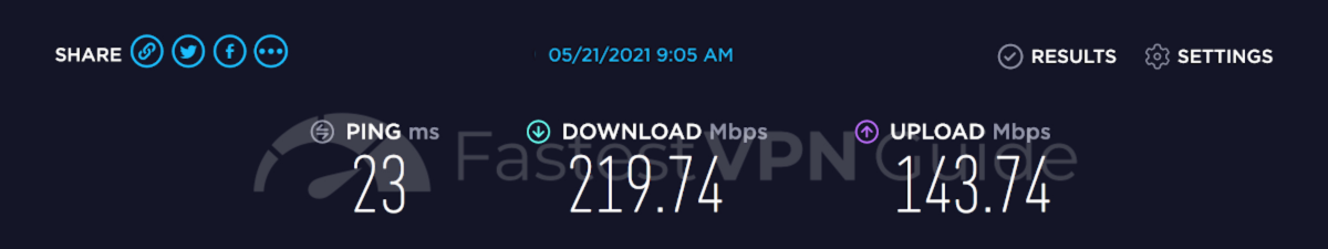 Speed test results for NordVPN's fastest server
