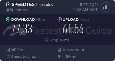 Private Internet Access Netherlands VPN server speed test results