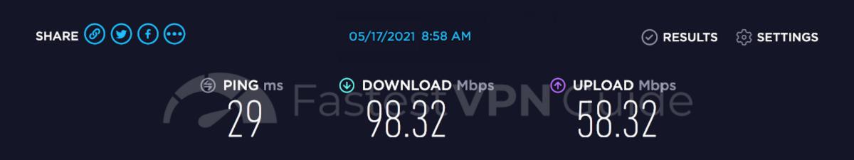 Speed test results for VyprVPN