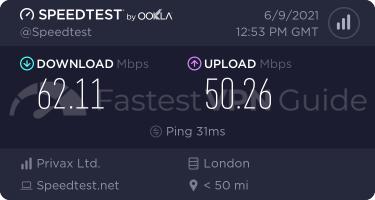 HideMyAss United Kingdom VPN server speed test results